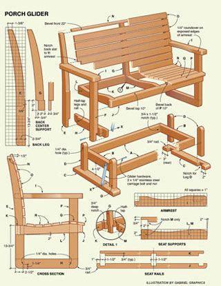 porch glider plans  wood plans   woodworking