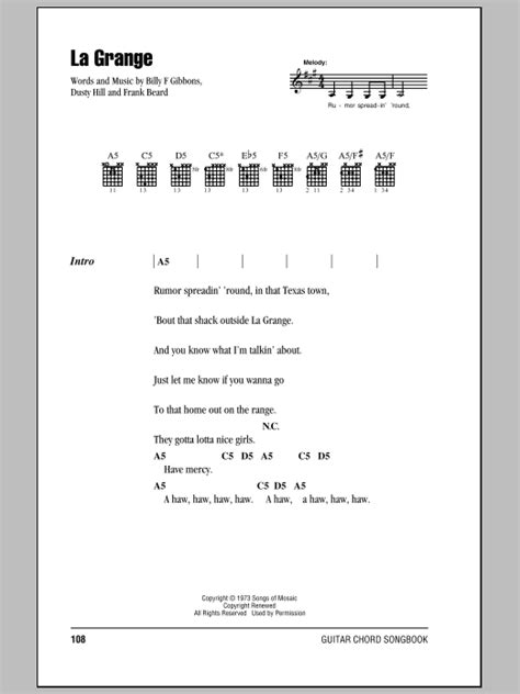 The Grange Zz Top Lyrics by La Grange Sheet By Zz Top Lyrics Chords 83863