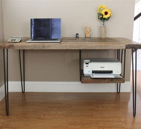 desk with printer shelf reclaimed wood hairpin leg desk with printer shelf pine