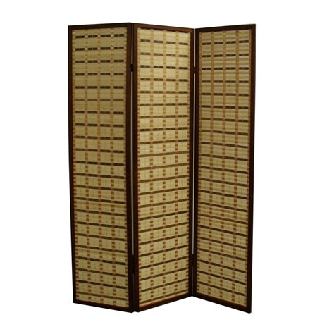 2 panel room divider 70 25 quot h two tone bamboo 3 panel room divider walnut