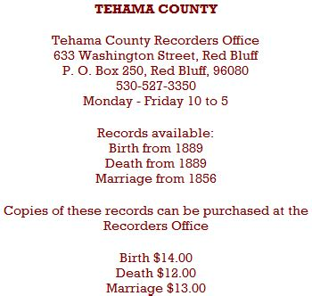 Tehama County Divorce Records Tehama Co Ca Genealogical Historical Society Research