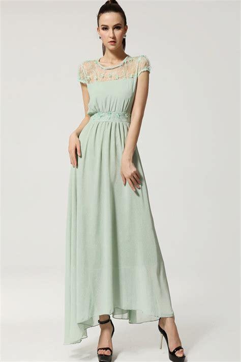 Light Green Lace Cap Sleeve Chiffon Maxi Dress 011465