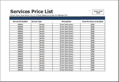 services price list template for ms excel excel templates