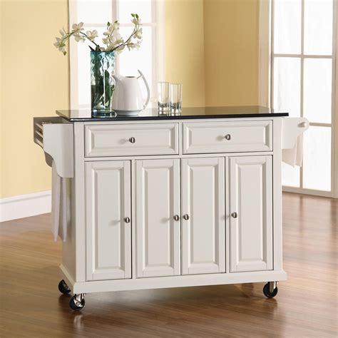 shop crosley furniture 48 in l x 18 in w x 36 in h white kitchen island with casters at lowes