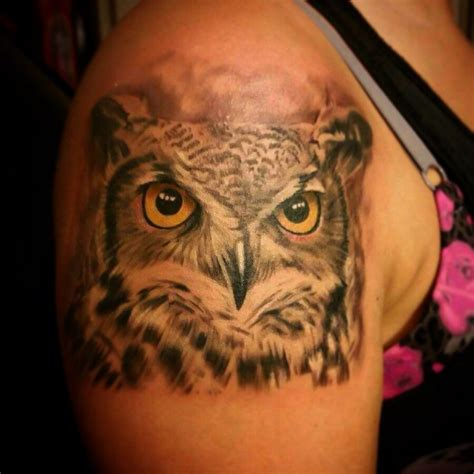 realistic owl tattoo owl realistic vicstattoos horned owl black and