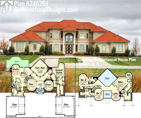 mediterranean house plans houseplans com plan 62462dj dazzling mediterranean house plan