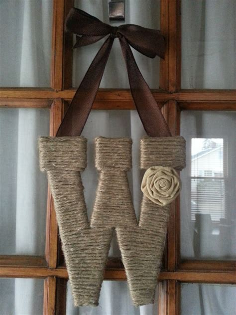 initial home decor twine letter monogram wreath initial wreath home decor