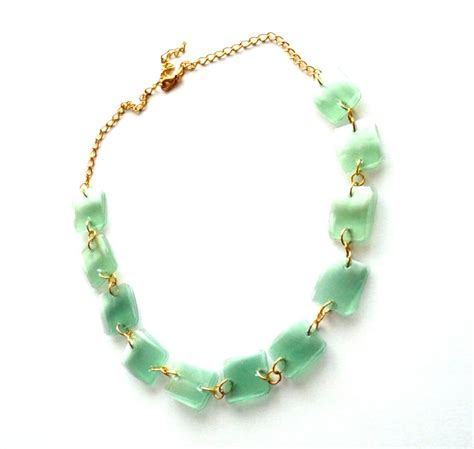 Handmade Recycled Jewelry - green golden modern statement necklace handmade of