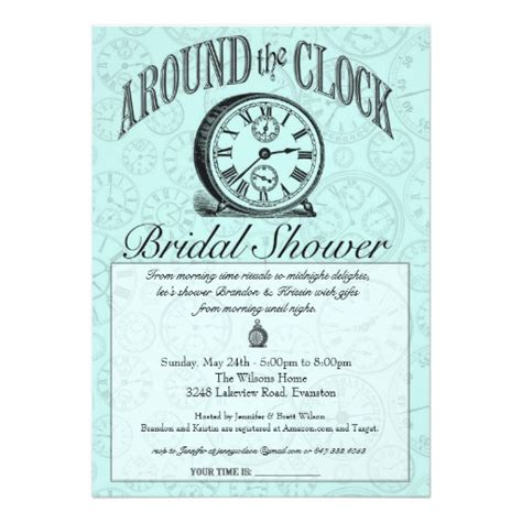 printable around the clock bridal shower invitations around the clock bridal shower invitation zazzle