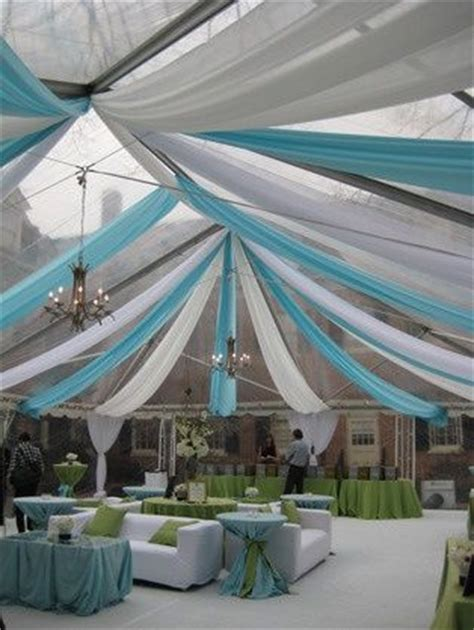 wedding tent ceiling decor white and turquoise draping decor a well