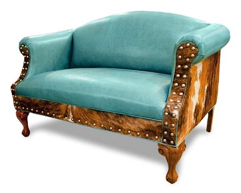 leather cowhide furniture sweet ali settee caribbean blue turquoise leather on the