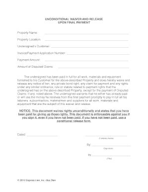Free Waiver Of Lien Form Free Lien Release Form Template