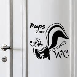 chiots chien zone stickers muraux toilettes toilet wall sticker art