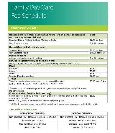 fee schedule template fee schedule template 13 free word pdf documents