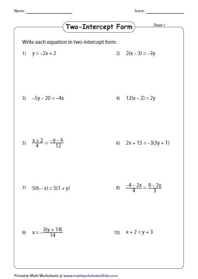 Linear Equations Worksheets by Y Mx B Worksheet Resultinfos
