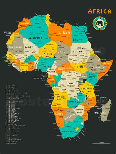 africa map poster jazzberry blue africa map poster posterlounge
