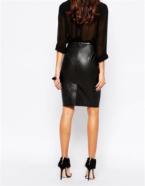black leather look pencil skirt dress ala