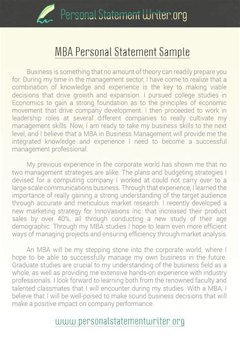 Sles Of Personal Statements For Mba Programs by Personal Statement Exles