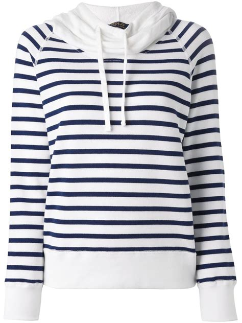 striped hoodie polo ralph striped cotton blend hoodie in blue
