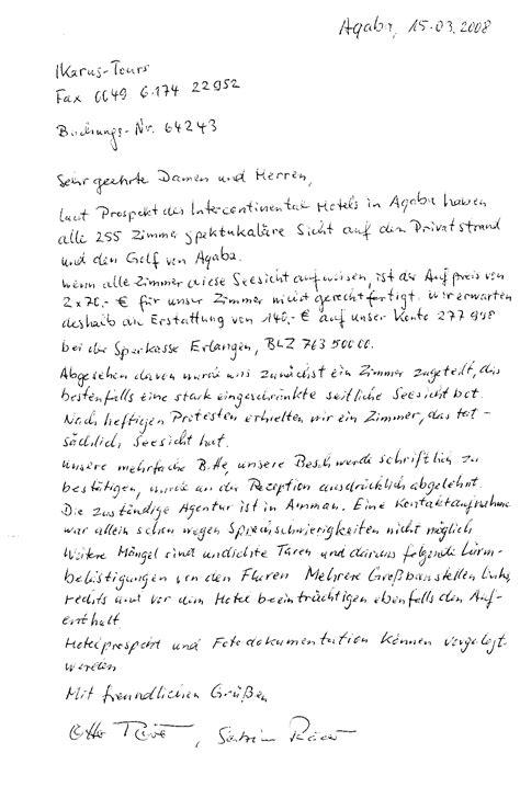 Beschwerde Brief Hotel Ikarus Tours