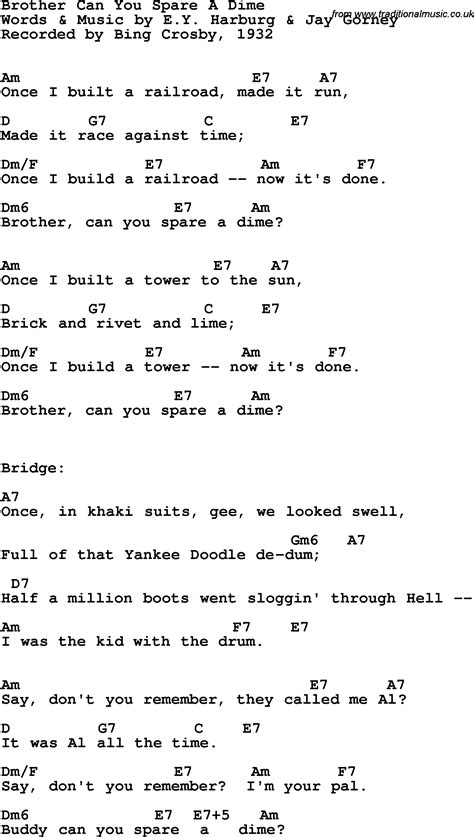 Song Lyrics with guitar chords for Brother Can You Spare A