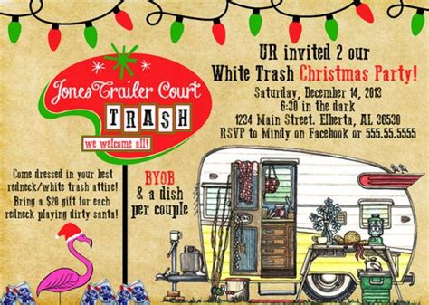white trash christmas party white trash invitation digital file available
