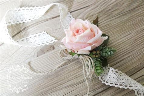 rustic vintage wrist corsage wrapped  lace blush pink
