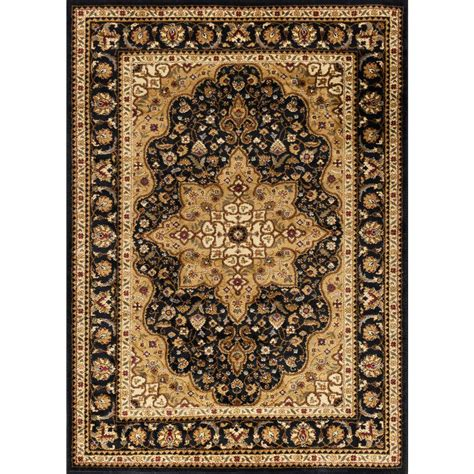 5 7 Area Rugs Tayse Rugs Elegance Black 5 Ft X 7 Ft Traditional Area Rug Elg5503 5x7 The Home Depot