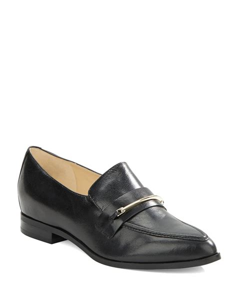 nine west loafers nine west oxidize leather loafers in black save 21 lyst