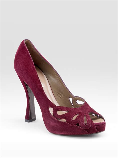 Purple And Lilac Leather Flower Embellished Suede Peep Toes At Debenhams by Philosophy Di Alberta Ferretti Floral Cutout Suede Pumps