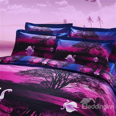 new arrival 100 cotton white swan on swan lake print purple 4 bedding sets duvet cover
