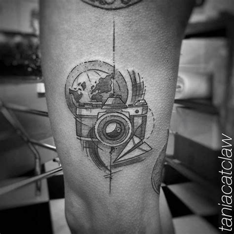 geometric tattoo camera sketch work style photo camera on the left thigh thigh