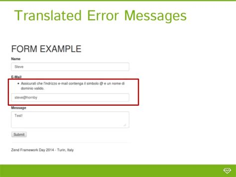 zf2 layout template error reporting in zf2 form messages custom error pages