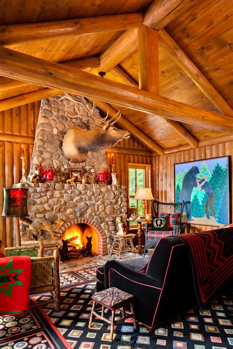 Log cabin living rooms living room rustic with man cave