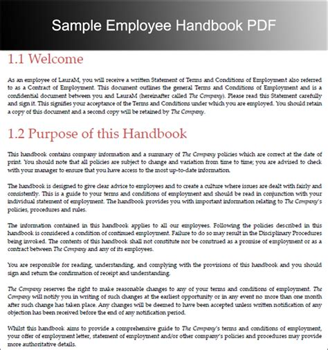 employee handbook templates free word document