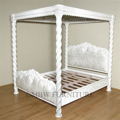 Italian Canopy Bed | solid mahogany italian antiqued white ca king carved 4