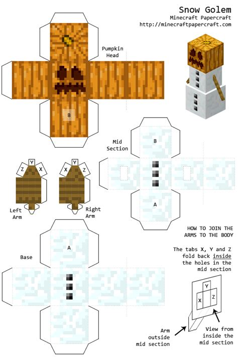 Minecraft Papercraft Snow Golem - snow golem papercraft read desc by noobheadz on deviantart