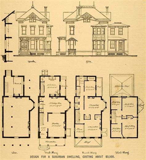 Historic Home Floor Plans by Vintage House Plans 1879 Print House