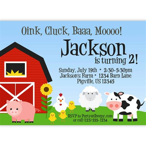 Farm Invitation Barn Animals Pig Chicken Sheep And Cow Personalized Birthday Party Invite Free Farm Birthday Invitation Templates
