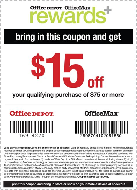 Office Depot Print Coupons Office Depot Coupons 15 75 At Office Depot
