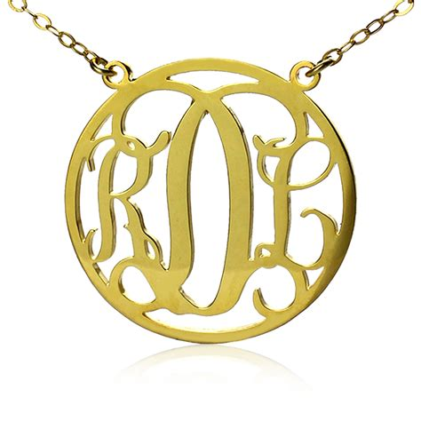 monogram name necklace circle solid gold initial monogram name necklace