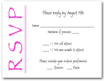 Baby Shower Rsvp Response by Bright Pink On White Rsvp Cards Reply Cards Response Cards