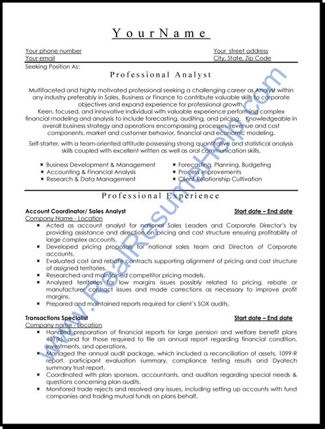 professional resume professional analyst resume sle real resume help