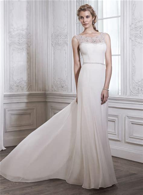 sheer beaded back wedding dress sheath bateau neck sheer back chiffon tulle pearl beaded