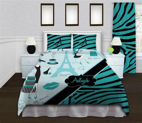 eiffel tower bedroom accessories aqua chevron bedding