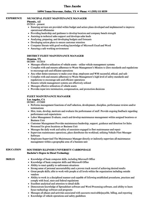 Fleet Maintenance Manager Sle Resume by Fleet Manager Sle Resume Green Building Engineer Cover Letter Windows Server Engineer Cover