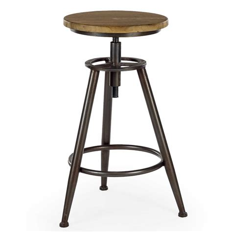 Metal And Wood Adjustable Bar Stools by Pair Of Industrial Wood And Metal Height Adjustable