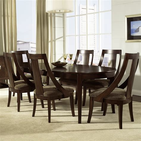 cirque wood oval dining table chairs in merlot by