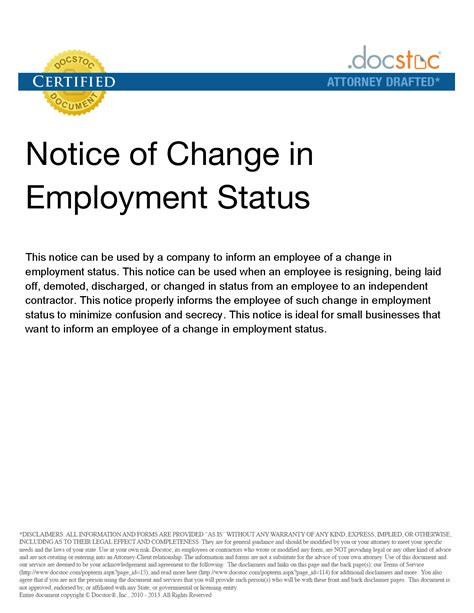 change of status cover letter sle letter to change employment status best photos of