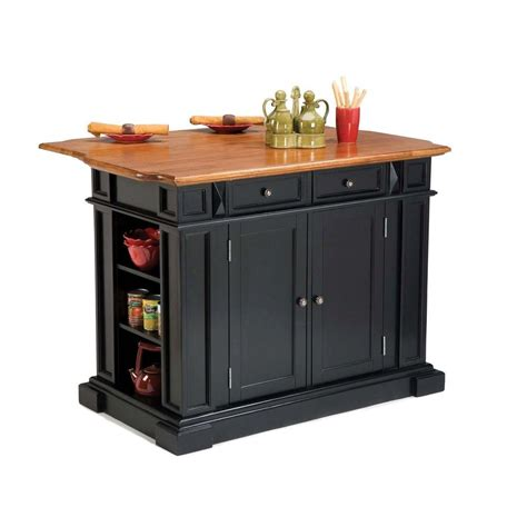kitchen island home depot home styles americana black kitchen island with drop leaf